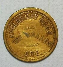 The Dalles Oregon McClaskey Bros Good for 25c Trade Brass 24mm Token