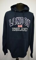 SW873 ZONE ONE LONDON ENGLAND  MEN'S NAVY SWEATER JUMPER HOODIE  SIZE XL