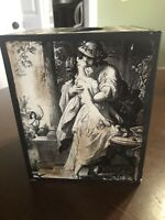 ANTIQUE STYLE FRENCH/ITALIAN SQUARE TISSUE BOX HOLDER SEPIA ANGELS/KISSING COUPL