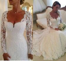 2017 lace white/ivory wedding dress mermaid bridal Gown custom size 6 8 10 12 14