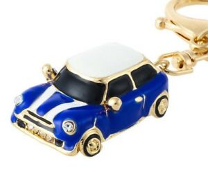 Mini Cooper Style Car Key chain Gift Blue Red Black Rhinestone Detail Christmas