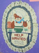 Teddy Bear Cross Stitch Kit Frame Fabric DMC Master Chef Kitchen Help Wanted New