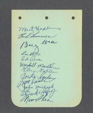 Baseball album sheet signed by 12 with Merv Shea & Billy Webb