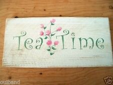 Tea Time Chic and Shabby Sign Pink Roses Delicate Primitive