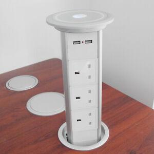 Motorised Automatic LED Pop Up Plug Power Point 2 USB with 3 UK Socket KitchenUK