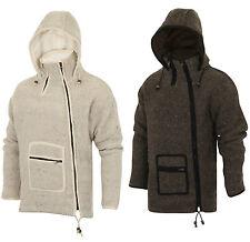 Woolen Jacket Hoodie Fleece Lined Dual Zip Hippie Nepal Boho Knitted Coat SH-34