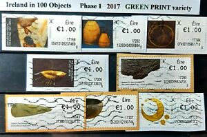 Ireland in 100 Objects Phase 1   (8), Used, Year 2017 , GREEN Print Variety