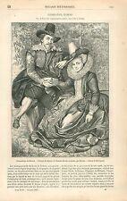 Portrait de Rubens & Isabelle Brandt par Pierre Paul Rubens GRAVURE PRINT 1863