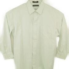 Kenneth Roberts Platinum Mens 17 1/2 32/33 Green Striped Dress Shirt