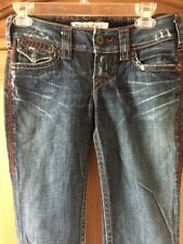 Women's 1921 Western Glove Works Distressed Jeans Size 25/32 Ultra Low FUN!