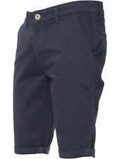 Enzo Mens Chino Shorts Cotton Casual Summer Half Pant Stretch Slim Fit 28-48 Navy 44 In.