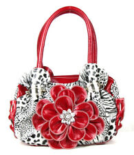 Metal Ring Purse Handbag Fashion Leopard Rhinestone Flower