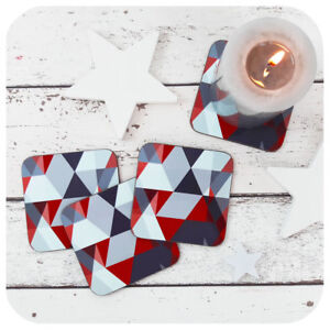 Red & Grey Scandi Coasters, Geometric High Gloss Drinks Coasters, triangle print
