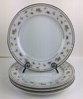 """ABINGDON Japan Pink Orange Floral Fine Porcelain China 9 1/4"""" Salad Plates (4)"""
