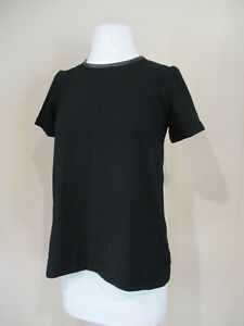 MADEWELL black textured leather collar pullover shirt top blouse sz XS