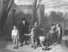 TEACHER Stops BOYS KID FIGHT at School Holds Ear  ~ Old 1875 Art Print Engraving