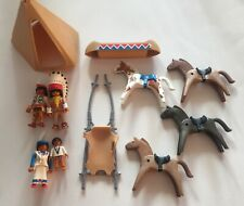 PLAYMOBIL GEOBRA 1993 AMERICAN INDIAN SET WITH FAMILY