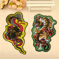 Embroidery Snake Tiger Sew On Iron On Patch Badge Clothes Fabric Applique Craft