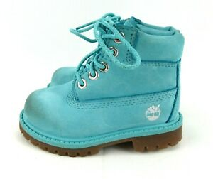 Timberland Primaloft Infant Toddler Size 6C Turquoise Suede Lace Up Boots