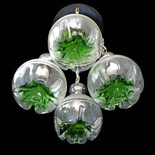 Vtg Italian Modernist Murano Mazzega Green Art-Glass Chrome Cascade Chandelier