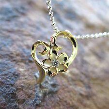 Yellow Gold Heart Plumeria Flower Hawaiian 925 Silver Pendant Necklace #SP94105