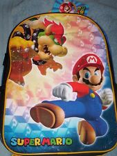 "Super MARIO Full Size Canvas Backpack NeW 16""x12"" Book Bag BOWSER nwt"