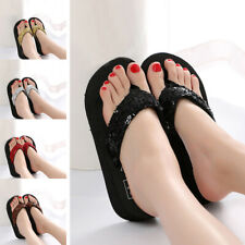 Women Wedge Thick Slippers Flip Flops Platform Thong Sandals Beach Casual Shoes