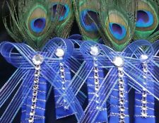 Peacock Feather Wedding BOUTONNIERE Groom Groomsmen CORSAGE  Quinceañera Favors