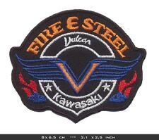FIRE & STEEL Aufnäher Aufbügler Patches Motorrad Biker V2 Chopper Vulcan