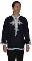 Moroccan Men Tunic Shirt Cafan Casual Handmade Embroidered Cotton X- Large Black