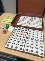 Mahjong Yellow Two Tone Hand Carved Tiles, Vtg 148 Tiles Chunky Lucite Cream