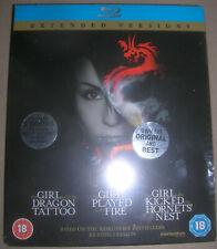 STIEG LARSSON THE GIRL WHO TRILOGY (extended versions) UK Region B blu-ray set