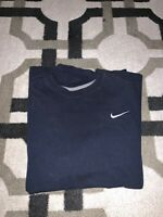 Vintage 90's Nike Small Embroidered Swoosh Navy T-shirt S Small Travis Scott Tee