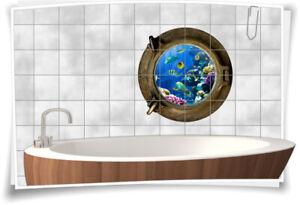 Fliesenaufkleber Fliesenbild Fliesen Bullauge Fische Wasser Meer Aquarium Bad