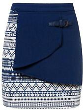 NWT Ladies ZALORA Size XS Cream + Blue Buckle Wrap Skirt