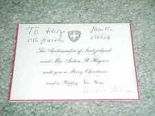Switzerland Ambassador Anton Hegner Autographed Signed Holiday Card