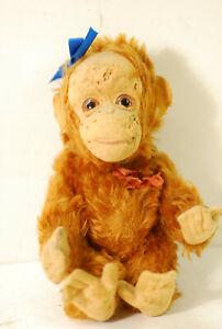 "Yes-no orangutan stuffed toy,1930's, 9"" high, all original"