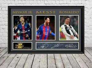 Messi Ronaldo Neymar Signed Photo Print Autographed Poster Football Memorabilia