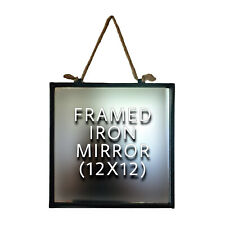 Farmhouse Style 12 X 12 Framed Iron Mirror, Rope Hanger, Removable Mirror