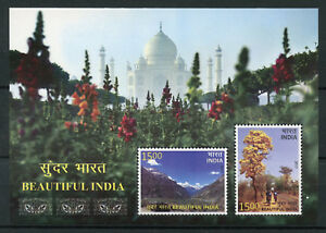 India 2017 MNH Beautiful India 2v M/S Tourism Landscapes Trees Mountains Stamps