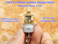 DC 5V 12V 2-Phase 4-Wire 15MM 15BY Micro Full Metal Gearbox Gear Stepper Motor