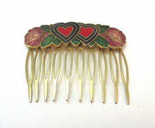 VINTAGE GOLD TONE ENAMEL HEART AND FLOWER HAIR COMB ***
