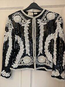 Frank Usher Fabulous Lined Beaded Jacket Size Small 100% Silk
