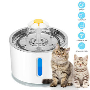 Pet Automatic Cat Water Dispenser Fountain LED USB 2.4L Dog Drinking Bowl Feeder
