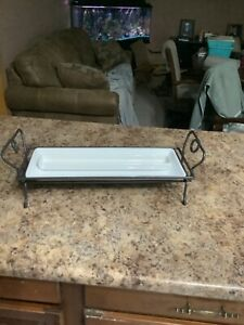 """Pampered chef simple additions wrought iron caddy with 151/2"""" by 6"""" serving tray"""