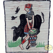 China Folk Art Home Wall Hanging Batik Tapestry-The Miao Minority Girl Feeds Cow