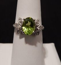 Size 8 Pretty Natural Peridot & White Topaz Sterling Silver Ring 2.07cts