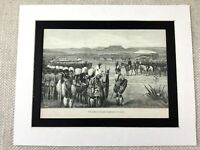 Antico Stampa Natal South Africa Native Warriors Africano 19th Secolo Art