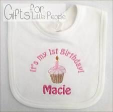 Personalised Embroidered baby girls bib - 1ST BIRTHDAY - unique gift/keepsake