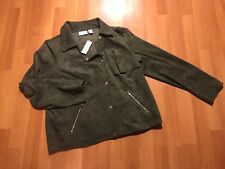Chico's Faux Suede Jacket Women's Size 2 Asymmetrical Snap Button Green New